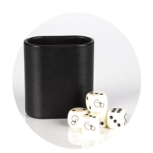 Magic Vosom Black Mini Vinyl Oval Backgammon Dice Cup with 5 Dice