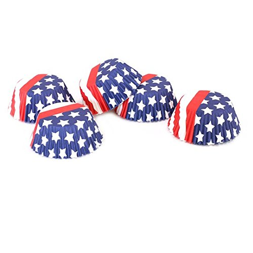 Patriotic Stars & Stripes Standard Baking Cups By Celebrate It - 75 count - American Flag Design -