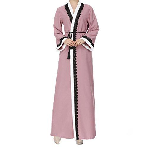 Fiaya Women Front Open Long Sleeve Lace Jilbab Muslim Islamic Dubai Kaftan Dresses Arabic Caftan Jalabiya (Pink, M)
