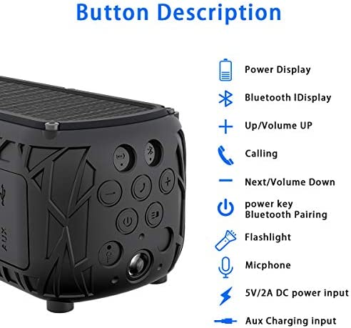 ABFOCE Solar Bluetooth Speaker Portable Outdoor Bluetooth IPX6 Waterproof Speaker with 5000mAh Power Bank,60 Hours Play Time Dual Speaker with Mic, Stereo Sound with Bass Home Wireless Speaker-Black 41u5PG1M gL