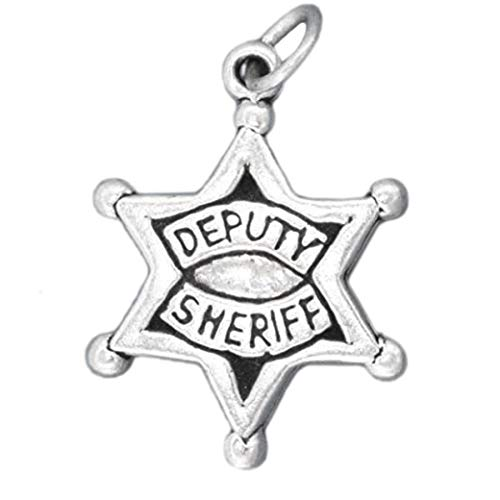 - Deputy Sheriff Law Police Officer Star Badge .925 Solid Sterling Silver Charm Jewelry Making Supply Pendant Bracelet DIY Crafting by Wholesale Charms