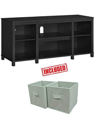 Mainstay.. Parsons Cubby TV Stand Holds Up to 50'' TV in Black Oak Finish with Set of 2 Bins Included! by Mainstay