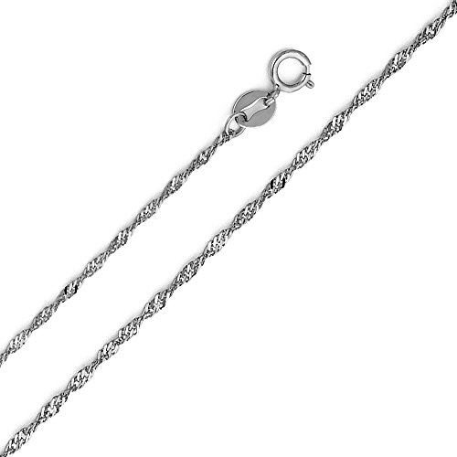 14k White Gold 1.2mm Singapore Chain Necklace with Spring Ring Clasp - 16