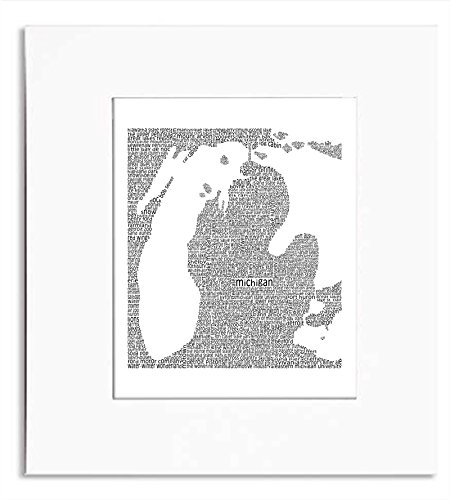 Michigan Map Word Art Print (City Of Kentwood Michigan)