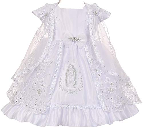 BluNight Collection Little Baby Girls Virgin Mary Embroidery Christening Baptism Dresses (0T1R5K) White 18M