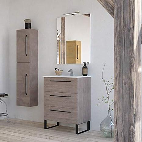 Amazon Com Modern Bathroom Vanity Cabinet Set Dakota Chicago Grey Oak Wood 24 X 33 X 18 Inch Vanity Cabinet Ceramic Top Sink 3 Drawers Kitchen Dining