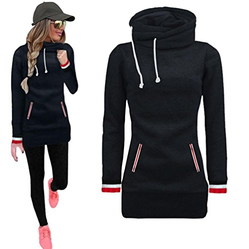 Kimloog Women Winter Long Sleeve Cowl Neck Pocket Drawstring Warm Sweatshirt Pullovers Casual Tops Sweater (L, Black)