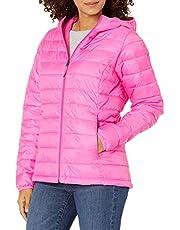 Amazon Essentials Women's Lightweight Long-Sleeve Full-Zip Water-Resistant Packable Hooded Puffer Jacket