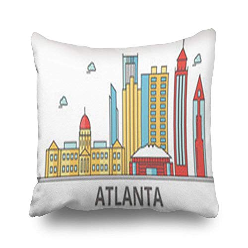 - Huishe1 Throw Pillows Covers Design Atlanta City Skyline Buildings Streets Silhouette Falcons Square 18 x 18 inches Decorative Pillowcase Home Decor Sofa Pillow Cushion Cases