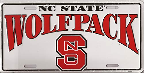 World Flags Direct Made in The USA - North Carolina State Wolfpack License Plate, Licensed NCAA Flag Aluminum 6