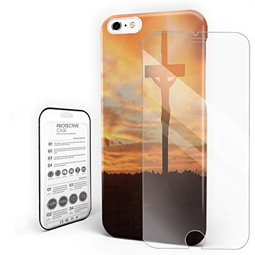 Life Crucifix (Big Crucifix at Sunrise New Life Hope Phone Case Compatible with iPhone 6 and iPhone 6s, Slim Shock Absorption Hard Plastic Phone Cover with Tempered Glass Screen Protector)