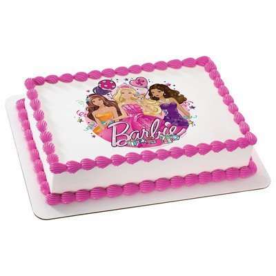 Amazon Com Barbie Glitter Birthday Licensed Edible Cake Topper