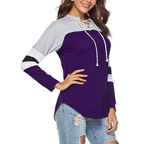 DAMEN ITISME Tinta Manica Impero TOPS Donna Camicia Corta Violett Unita 7HqdwRHx1