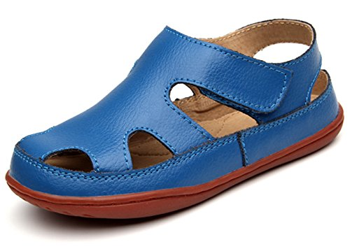 DADAWEN Girl's Boy's Summer Leather Strap Fisherman Sandal(Toddler/Little Kid/Big Kid) Blue US Size 8 M Toddler