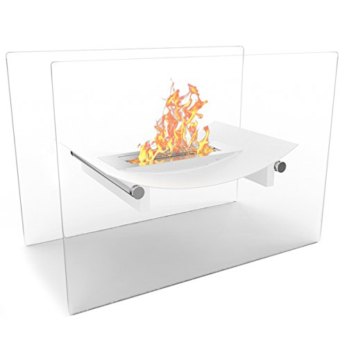 Regal Flame White Bow Ventless Free Standing Bio Ethanol Fireplace Can Be Used as a Indoor, Outdoor, Gas Log Inserts, Vent Free, Electric, Outdoor Fireplaces, Gel, Propane & Fire Pits.