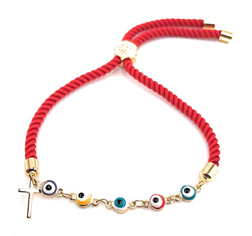 LESLIE BOULES Evil Eye Bracelet with Tiny Cross Red Satin Cotton Cord Adjustable Size
