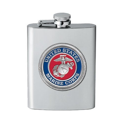 USMC United States Marine Corps 8 Ounce Pewter Decal Stainless Steel Flask ()