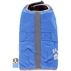 TAONMEISU Dog Reflective Reversible Windbreaker Warm Jacket Winter Dog Clothes Blanket Pet Coat Blue 2XL