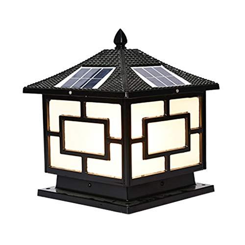 Solar Square Pendant Light Outdoor Garden Villa Wall Wall Light LED Door Light (Color : Black, Size : ()