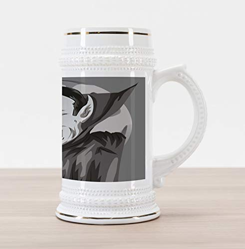 Lunarable Vampire Beer Stein Mug, Cartoon Style Count Dracula Angry Look Evil Expression Gothic Horror Monster, Traditional Style Decorative Printed Ceramic Large Beer Mug Stein, Grey Black White