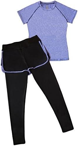 レディース ショートパンツ スパッツ 一体型 スポーツウェア ヨガパンツ Tシャツ 2点セット
