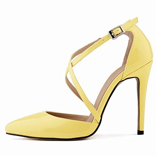 J 36 EU FLYRCX Mode Les Les dames Chaussures Simples tempéraHommest élégant Croix Sangle Talons Hauts