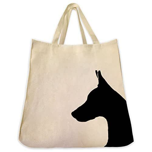 Doberman Pinscher Dog Portrait Silhouette Design Extra Large Reusable Cotton Twill Grocery Shopping Tote Bag