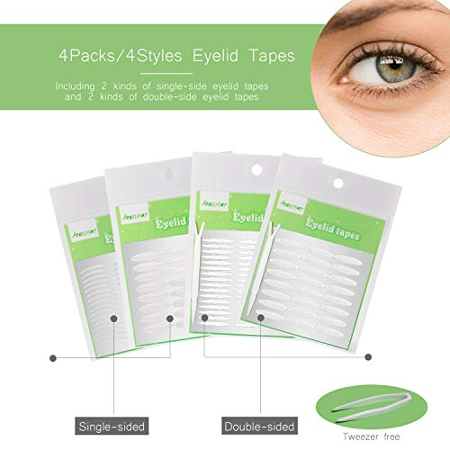 960Pcs/4Packs/4Styles Eyelid Tapes Invisible Single/Double-Sided Sticky Double Stickers, Medical Fiber Eyelid Lift Strip Without Surgery, for Hooded, Droopy, Uneven, Mono-eyelids (Best Double Sided Eyelid Tape)
