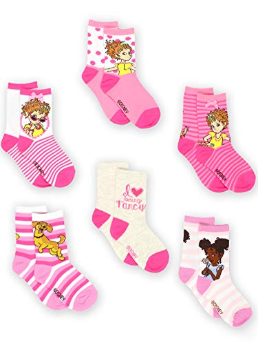 Fancy Nancy Toddler Girls 6 pack Socks (4-6 Toddler (Shoe: 7-10), Pink Crew)