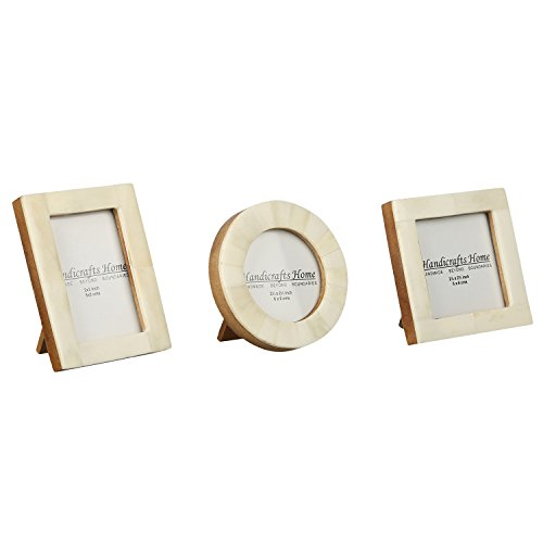 Baby Photo Frame Pure Bone Mother of Pearl Handmade Natural Picture Frames Set of 3 Pieces - Square Frame Polaroid