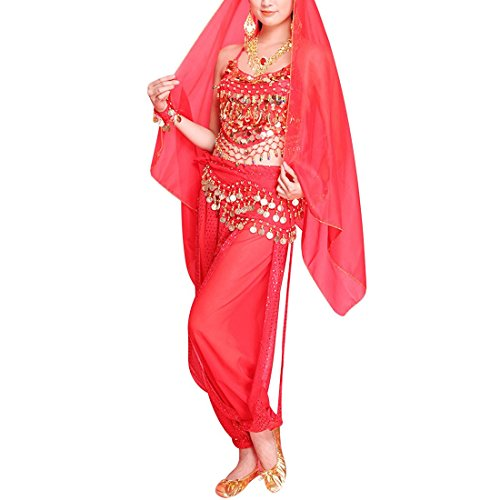 Costumes Lion Dance Pants (Night lions fashion Lady's Belly Dance Chiffon Banadge Top and Lantern Coins Pants)
