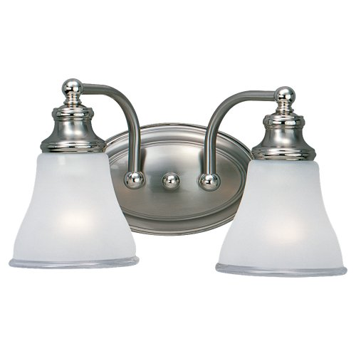Two Tone Bath Light - Sea Gull Lighting 40010-773 Two Light Wall Bath Fixture, Tone Nickel