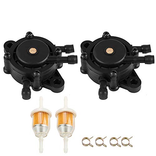 2PCS 24 393 16-S Fuel Pump w Fuel Filter for Kohler 15 393 01-S Briggs & Stratton 808656 491922 John Deree LG808656 M138498 M145667 Kawasaki 49040-7001 Lawn Mower Generator Pressure Washer