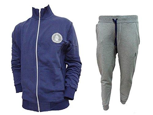 tuta uomo sportiva full zip in cotone MARINA YACHTING art. MY48+MY45 (grigio/blu, XL)