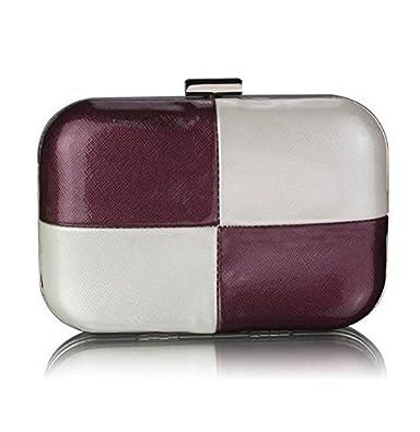 Womens Hard Case Box Clutch Bag Ladies Evening Handbag (Purple White Hard  Case Clutch 3f620f759