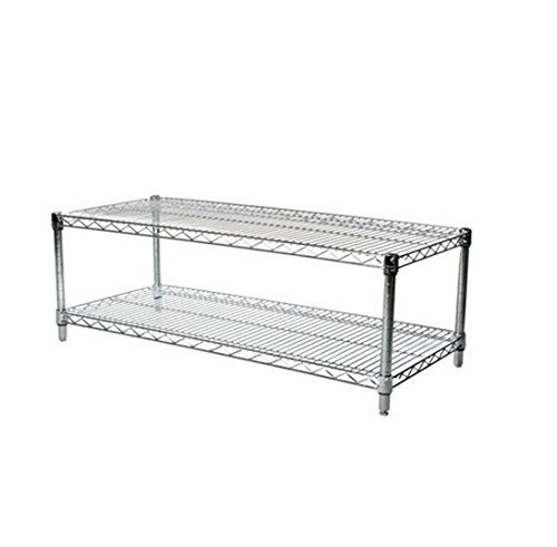Commercial Chrome Wire Unit 18 x 48 - 2 Shelf Unit - 18'' Height by LJ