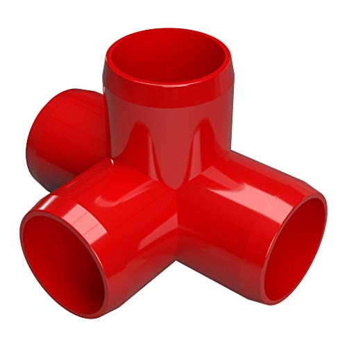 Pvc Pipe Red (FORMUFIT F1144WT-RD-4 4-Way Tee PVC Fitting, Furniture Grade, 1-1/4