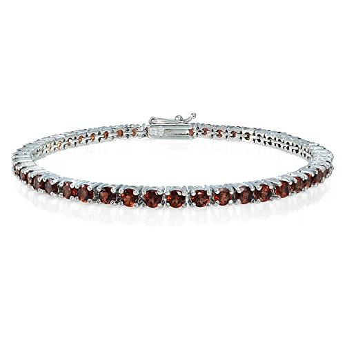 Ice Gems Sterling Silver Garnet 3mm Round Tennis Bracelet
