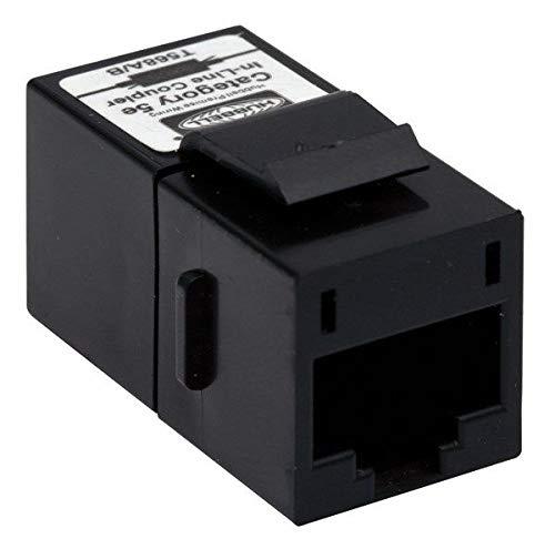 Hubbell SFC5EBK Snap-Fit Coupler, Keystone Jack, BNC Connector, 1 Port, Category 5e, Black