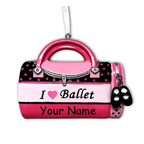 Personalized Child's Dance Bag Christmas Ornament - Pink Duffel Bag with Glitter Shoes - Ballet Modern Jazz Hip Hop Profession Teacher Girl - Free Name Customization