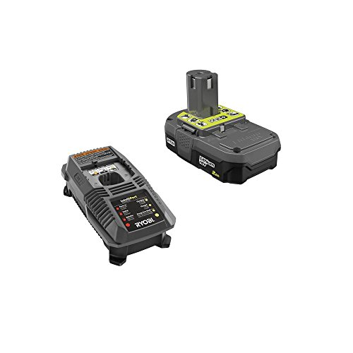 Ryobi P163 18V OnePlus Lithium 2.0Ah Compact Battery and Charger Upgrade Kit includes a P118 Charger and P190 Battery (Best Dual Battery Kit)