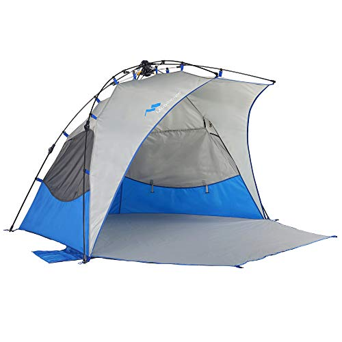 Mobihome Beach Tent Sun Shelter Instant Quick Up, Sand & Surf Beach Tents Umbrella & Canopy Easy Setup for Outdoor Camping Fishing, Portable Shade - Extended Porch Included