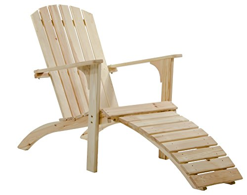 Ambientehome Adirondack Chair Deckchair Liege Gartenliege Massivholz inkl. Fussteil FALUN, Natur