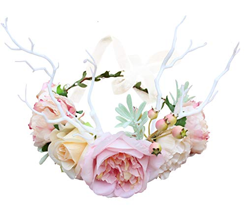 Vivivalue Deer Flower Crown Boho Flower Headband Hair Wreath Floral Headpiece Halo with Ribbon Wedding Party Festival Photos Pink