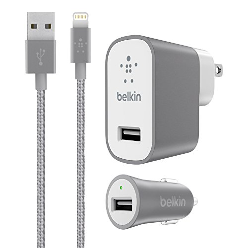 Belkin Charger Kit for iPhone & iPad - Retail Packaging - Gray (Kit And Charger Home Car Belkin)