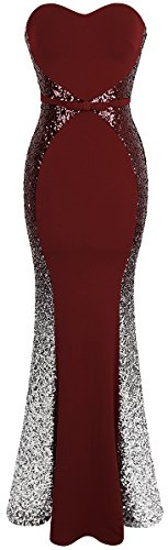 Angel-fashions Women's Strapless Gradual Sequin Mermaid Long Prom Dress (L, Wine Red Silver)