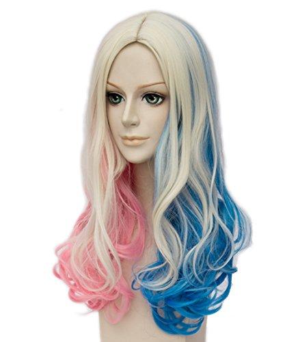 Topcosplay Women's Wig Curly Halloween Costume Cosplay Wig Blonde Mixed Blue Pink Gradient -