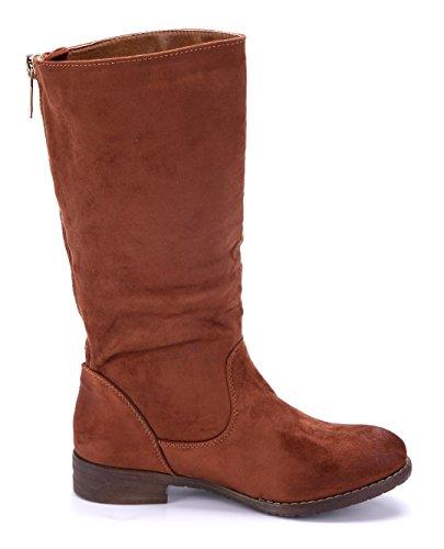Schuhtempel24 Damen Schuhe Klassische Stiefel Stiefeletten Boots Blockabsatz 3 cm Camel