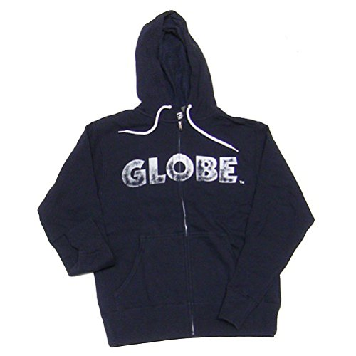 Globe Mens Hoodie (GLOBE Zip Up Skateboard Hoodie Reaping Navy/White SIZE MEDIUM)