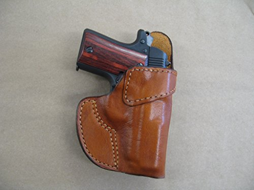 Mustang Leather - Colt Mustang 380 Leather Clip On OWB Belt Concealment Holster CCW - TAN RH